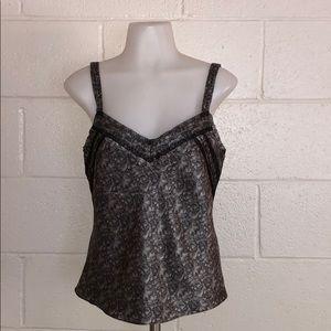 Black & Silver Silk Tank Top w/ Lace